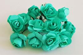 Paper Rose 1,5 cm - Mint Blauw/Groen (set 12 stuks)