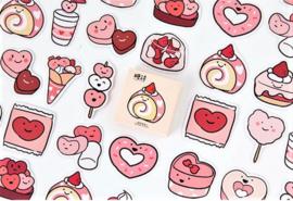 Planner Stickers - Valentijn Snacks (set 45 stuks)