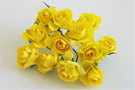 Paper Rose 1,5 cm - Geel (set 12 stuks)