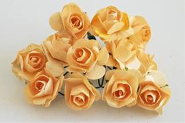 Paper Rose 1,5 cm - Champagne (set 12 stuks)
