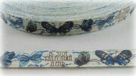 Lint - Vintage Vlinders blauw