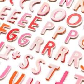 Pink Paislee  Be Mine  - Puffy alfabet stickers (92 stuks)