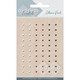 Card Deco Zelfklevende Parels - rood