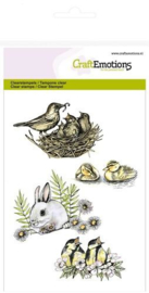 Clear Stamp CraftEmotions - Konijn / Vogels