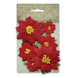 Paper Poinsettia - Rood (set 6 stuks)