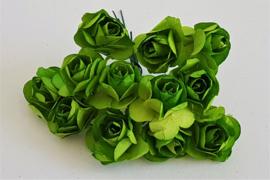 Paper Rose 1,5 cm - Groen (set 12 stuks)