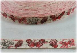 Lint - Vintage Vlinders rood