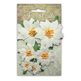 Paper Poinsettia - Wit (set 6 stuks)