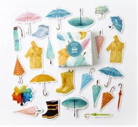 Planner Stickers - Regenkleding (set 40 stuks)