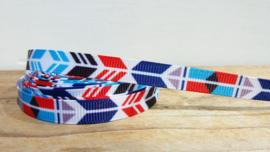 Lint - Chevron pijlen Rood/Blauw