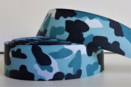 Lint - Camouflage motief 'blauw'