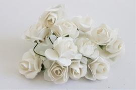 Paper Rose 1,5 cm - Wit (set 12 stuks)