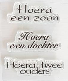 Clear Stamp - Hoera een zoon / Hoera een dochter