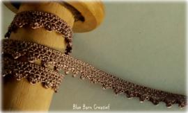 Vintage bruin glanzend kant - 10 mm