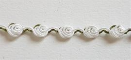 Romantisch kant van opgerolde roosjes - Wit 7 mm