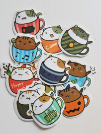 Planner Stickers - Cup Cats (set 20 stuks)