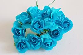 Paper Rose 1,5 cm - Helder Blauw (set 12 stuks)