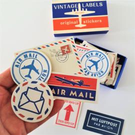 Vintage Label Stickers - Air Mail (set 60 stuks)