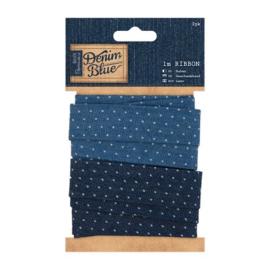 Lint - Denim Blue gestipt (2x 1 meter)