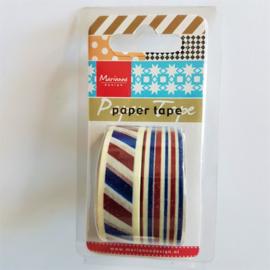 Marianne Design MaskingTape - Rood / Wit / Blauw (set 2 stuks)