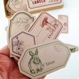 Vintage Label Stickers - Nature (set 60 stuks)