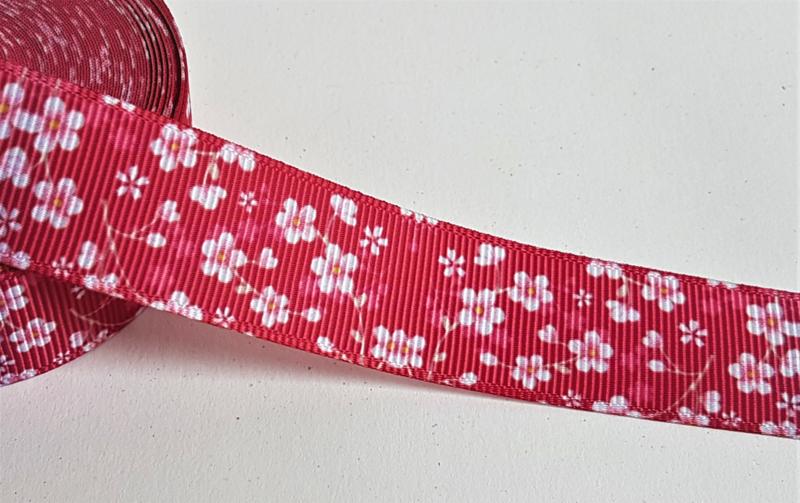 Lint - Witte bloemen op rode achtergrond