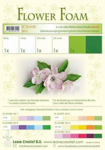 Flower Foam set 6 - Groen/Wit
