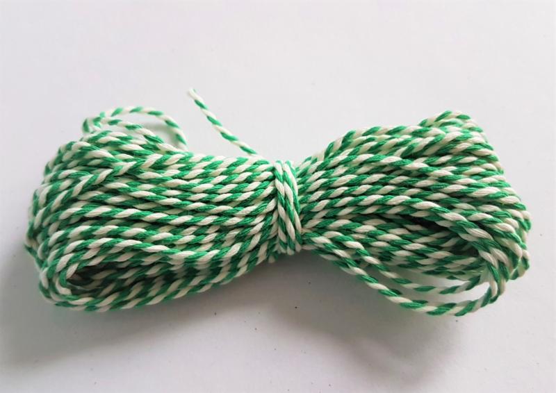 Katoen koord 1,5mm - Wit/Groen (10 meter)