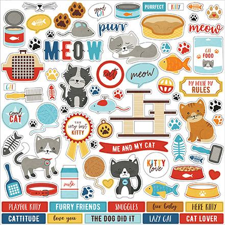 Echo Park stickers - I Love My Cat