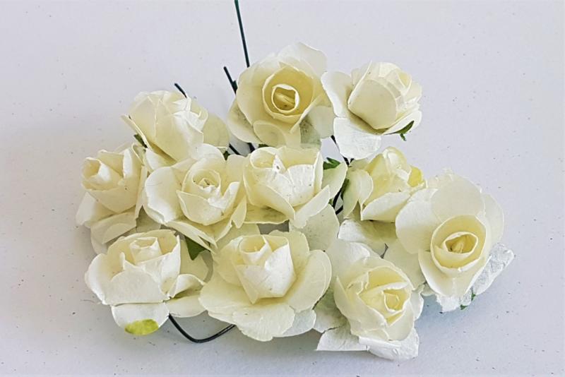 Paper Rose 1,5 cm - MelkWit (set 12 stuks)