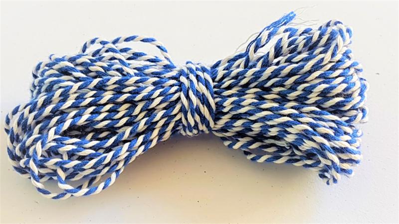 Katoen koord 1,5mm - Wit/Blauw (10 meter)