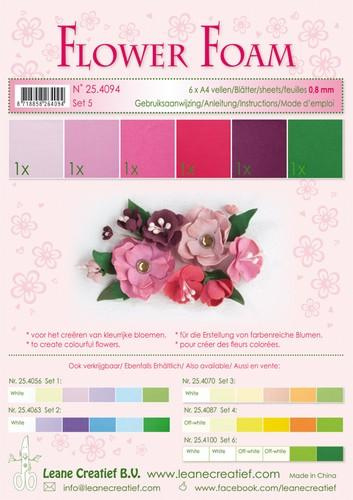 Flower Foam set 5 - Rood/Roze