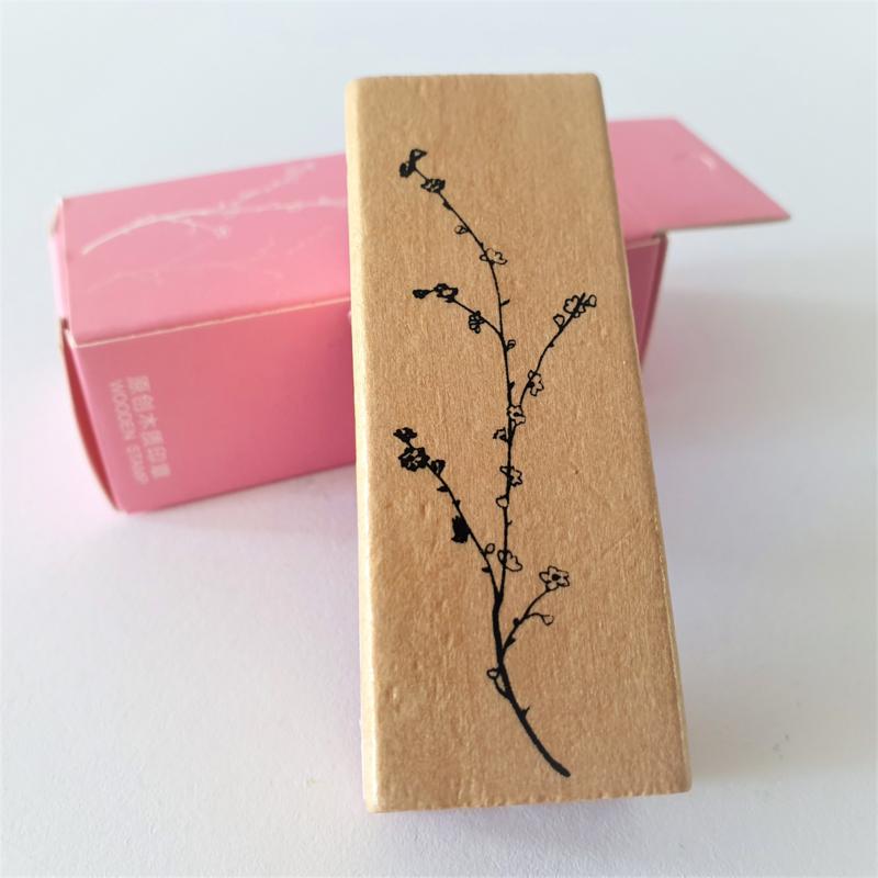 Vintage houten stempel - Botanisch gras 1