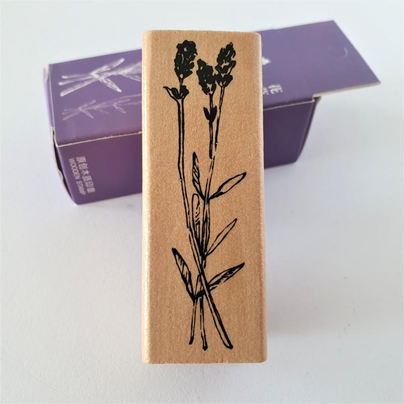 Vintage houten stempel - Botanisch gras 5