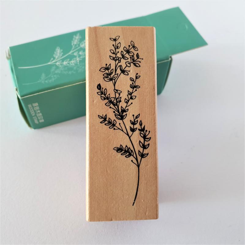 Vintage houten stempel - Botanisch gras 8