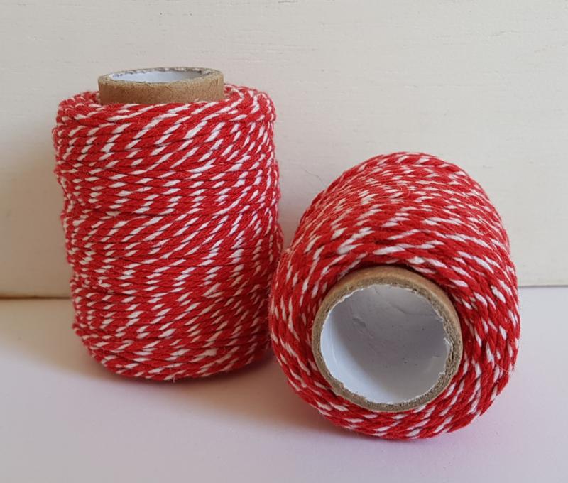 Katoen koord 1,5mm - Rood/Wit