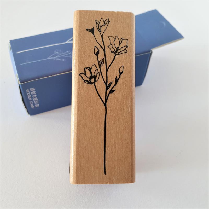 Vintage houten stempel - Botanisch gras 6