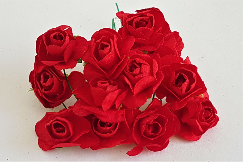 Paper Rose 1,5 cm - Rood (set 12 stuks)