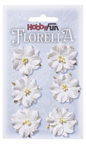 Witte bloemen ca. 3,5 cm - (set 6 stuks)
