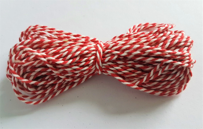 Katoen koord 1,5mm - Wit/Rood (10 meter)