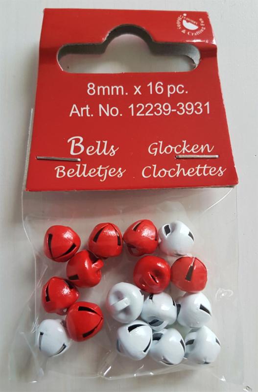 Kerstbelletjes rood & wit 8mm (16 stuks)