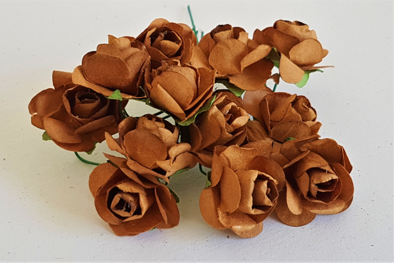 Paper Rose 1,5 cm - Bruin (set 12 stuks)