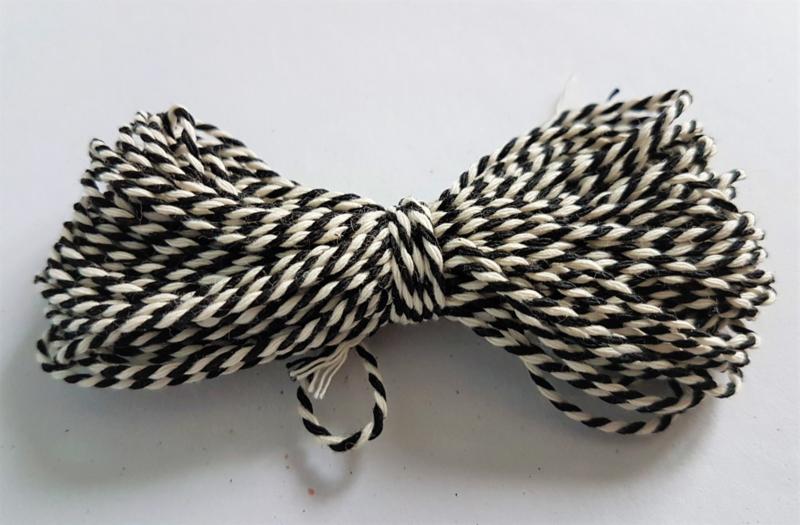 Katoen koord 1,5mm - Wit/Zwart (10 meter)
