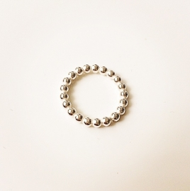 Zilveren bolletjes ring los