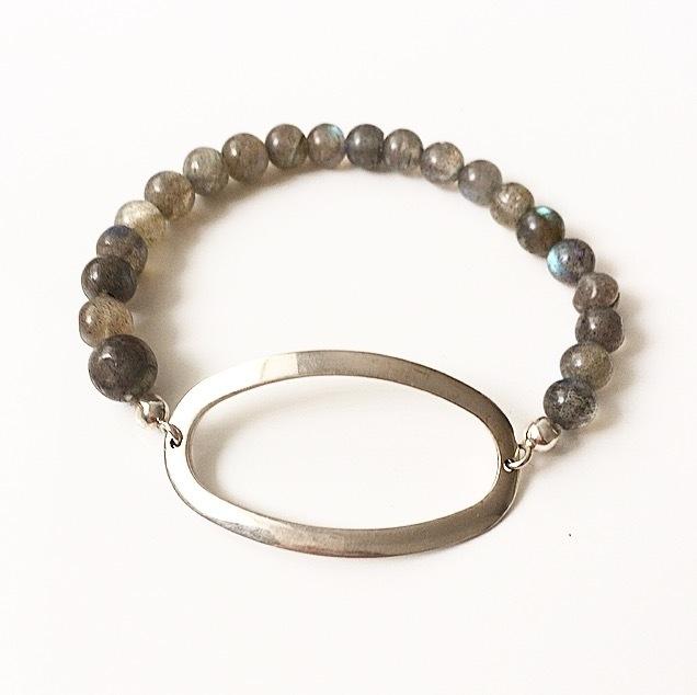 Armband zilveren ovaal met labradoriet edelsteen