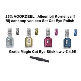 Moyra Stamping Nail Polish 12ml SET met 4 Flesjes CAT EYE POLISH + Magic Magneet Stick