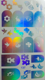 Foil Wrap 137  Holografisch Zilver
