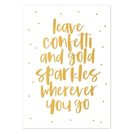 Kaart | Leave confetti and gold sparkles