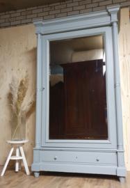 "Antieke landelijke grote Franse eendeurskast  spiegelkast ""Scandinavian Blue"""