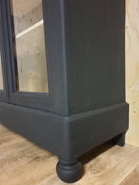 Antieke mahonie Biedermeier vitrinekast Nocturnal zwart